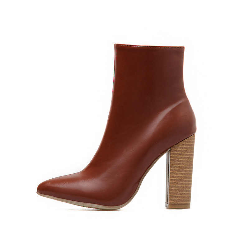 2019 Plus Größe Frauen Ankle Brown Chunky Stiefel 10cm High Heels Fetisch Stripper Bottines Stiefel Dicken Block Heels Zip sexy Schuhe