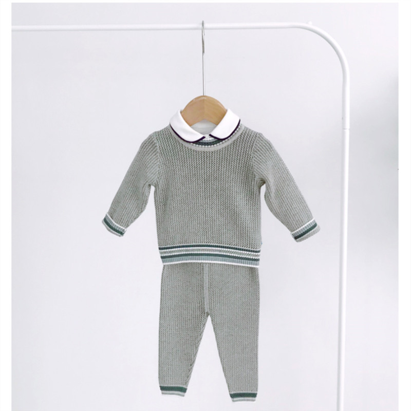 Baby Boy odzież z dzianiny zestaw dzieci dzianinowy sweter + spodnie jesień zima maluch dzianiny stroje dziecięce swetry dziergane