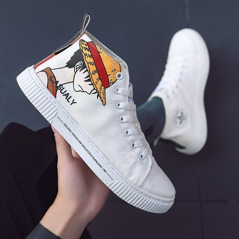 Autumn 2019 Canvas Shoes For Boy Luxury Brand Men Vulcanized Footwear High Top Men Classic Canvas Shoes Lace-Up Men Canvas Shoes