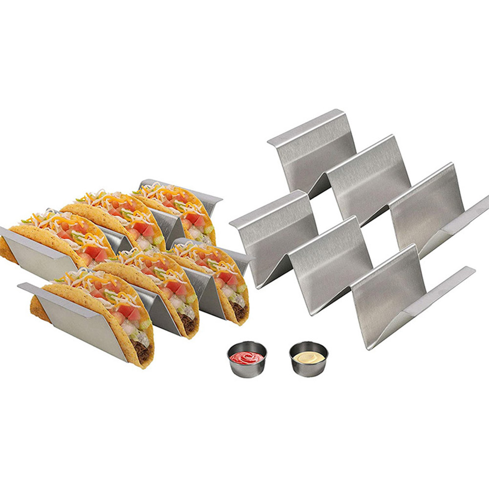 3 Grids Stainless Steel Taco Shell Holder Taco Stand Plate Protector Bracket Tray Food Holder Mexican Pancake Rack Stand Holds