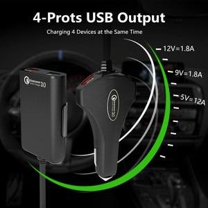 Image 2 - المقعد الخلفي 4 منفذ USB سريع الشحن 3.0 سيارة الجبهة المحمولة شاحن آيفون هواوي 60 واط 12A quadra ميناء USB سريع شاحن الهاتف