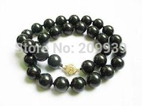 huij 002770 Necklace natural black coral 12mm round beads