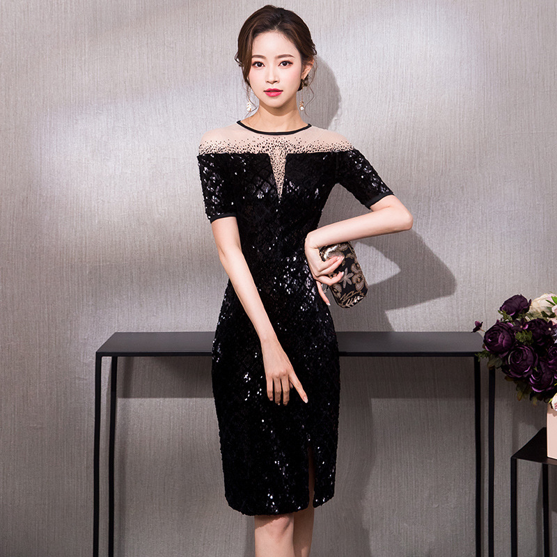 First Communion Dress Party Dress Dress Female 2020 Annual Meeting Of New Noble Socialite Party Skirt Sequins Brief Paragraph
