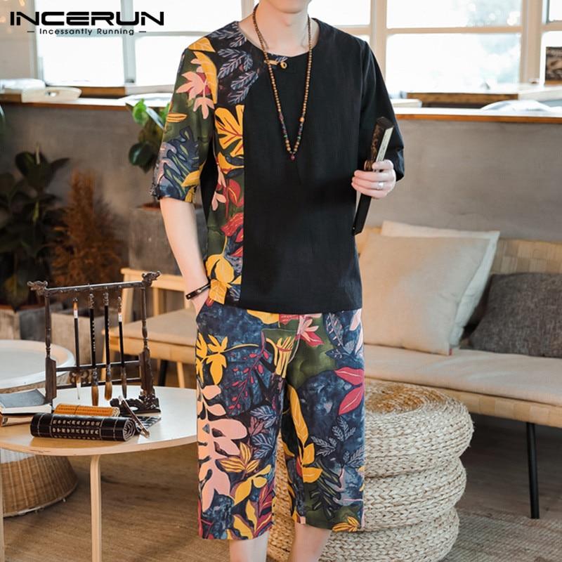 Ethnic Style Printed Men Sets Short Sleeve O Neck T Shirt Elastic Waist Casual Pants Retro 2 Pieces Men Sets Streetwear INCERUN