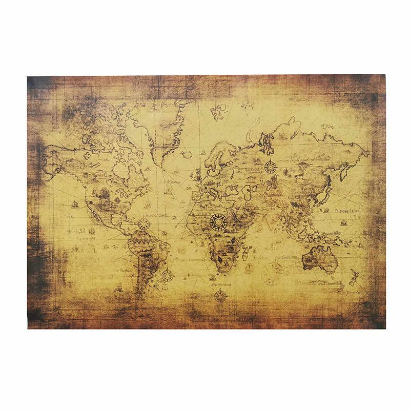 1 Uds. Equipo de enseñanza 72,5*51,5 cm Kraft pegatinas para la pared de papel póster mapa Vintage marrón materiales fotográficos decorativos H029