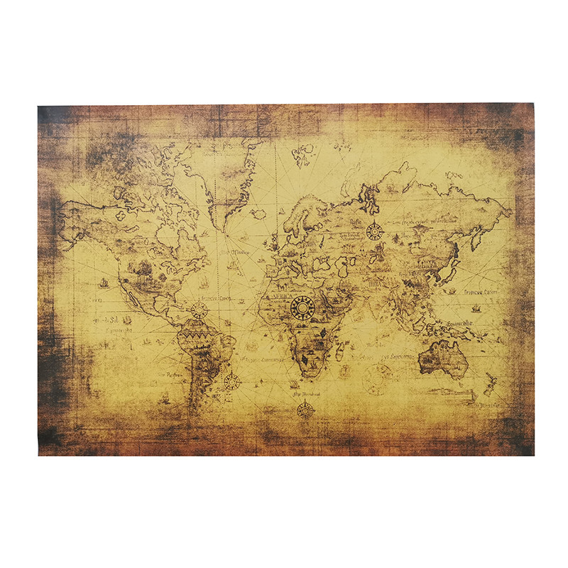 1 Pcs Teaching Equipment 72.5*51.5cm Kraft Paper Wall Sticker Poster Map Vintage Brown Photographic Materials Decorative H029