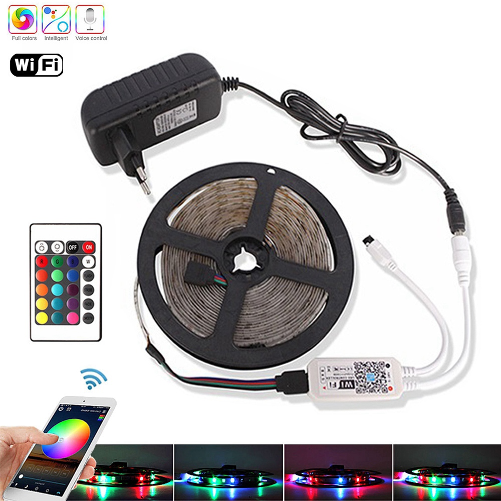 5M 10M 15M RGB Led Strip WiFi 2835 DC 12V Waterproof Diode Tape Flexible Ribbon Fita Tira LED Stripe Light+IR Remote +Adapter EU