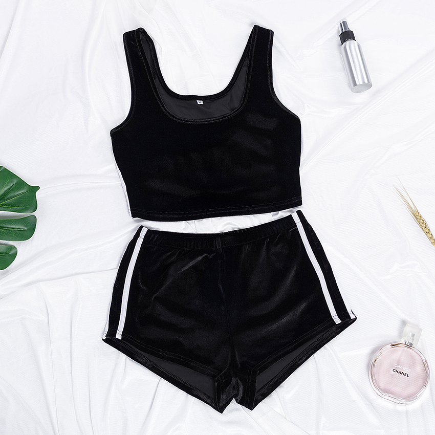Suphis Sexy O Neck Sleeveless Crop Top Stripe Shorts Velvet PJ Set Plain Casual 2020 Nightwear Black Pajama Women Sleepwear