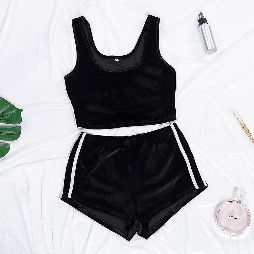 Suphis Sexy O Neck Sleeveless Crop Top Stripe Shorts Velvet PJ Set Plain Casual 2020 Nightwear Black Pajama Women Sleepwear
