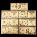 7 шт. 100/50/20/10/5/2/1 доллар поддельные деньги Опора деньги Банкноты США купюр, банкнотной в 24-каратное Золотое напыление для выявления фальшивой ...