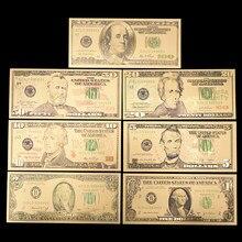 7 Uds. De dinero falso de 100/50/20/10/5/2/1 dólares, billetes de banco de EE. UU., billetes en 24K, chapado en oro dinero falso, regalos