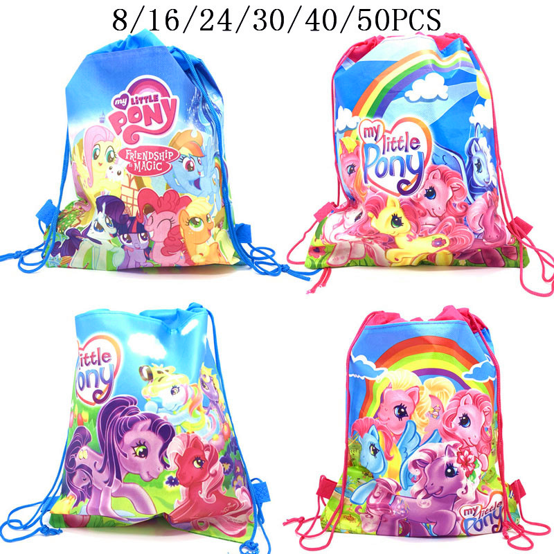 8/16/24/50PCS My little pony Drawstring Bags Pony Bag Children's Purse Plush Backpack Cartoon Cute Doll Cross Body Bag Girl Toys
