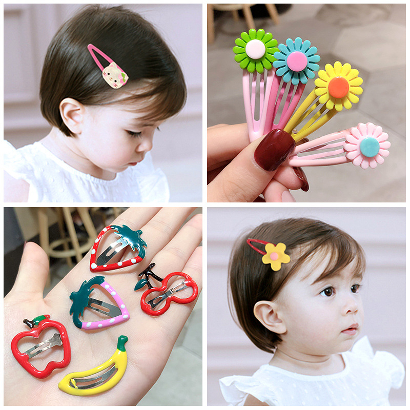 10-20pcs Children Cute Color Hair Clip Head Jewelry Drop-shaped Clip Hair Accessories Baby Clip Cute Baby Hairpin