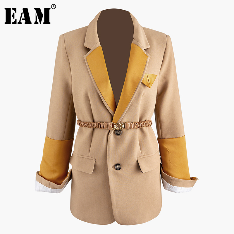 [EAM]  Women Contrast Color Split Temperament Blazer New Lapel Long Sleeve Loose Fit  Jacket Fashion Spring Autumn 2020 1R050