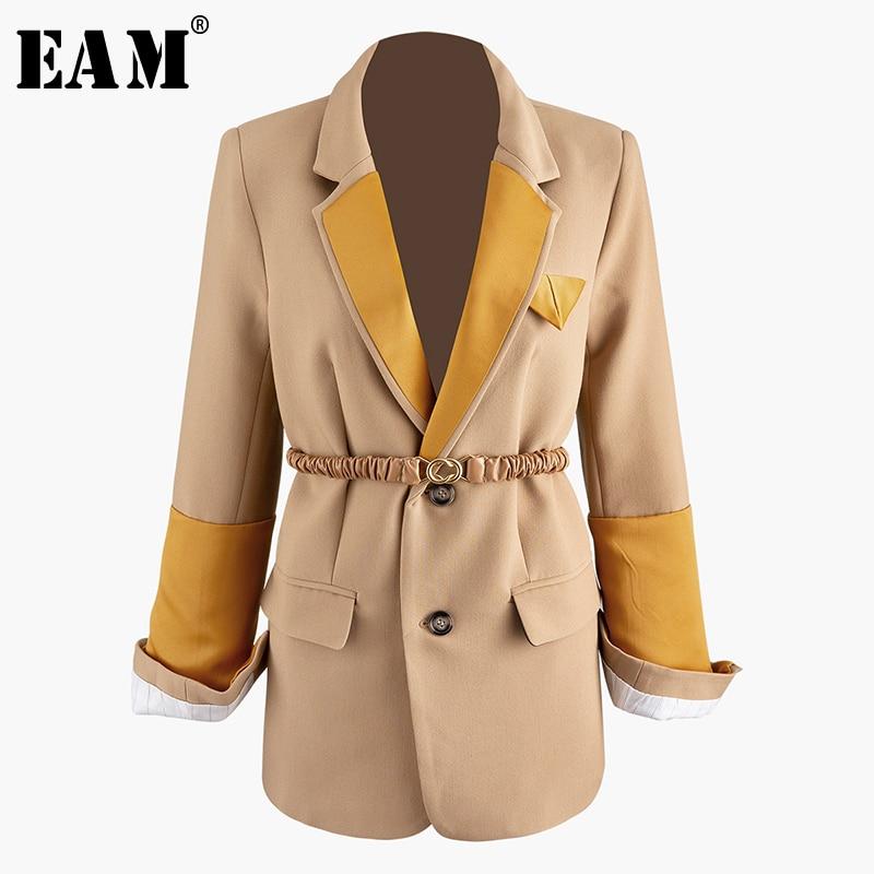 [EAM]  Women Contrast Color Split Temperament Blazer New Lapel Long Sleeve Loose Fit  Jacket Fashion Spring Autumn 2020 1R050