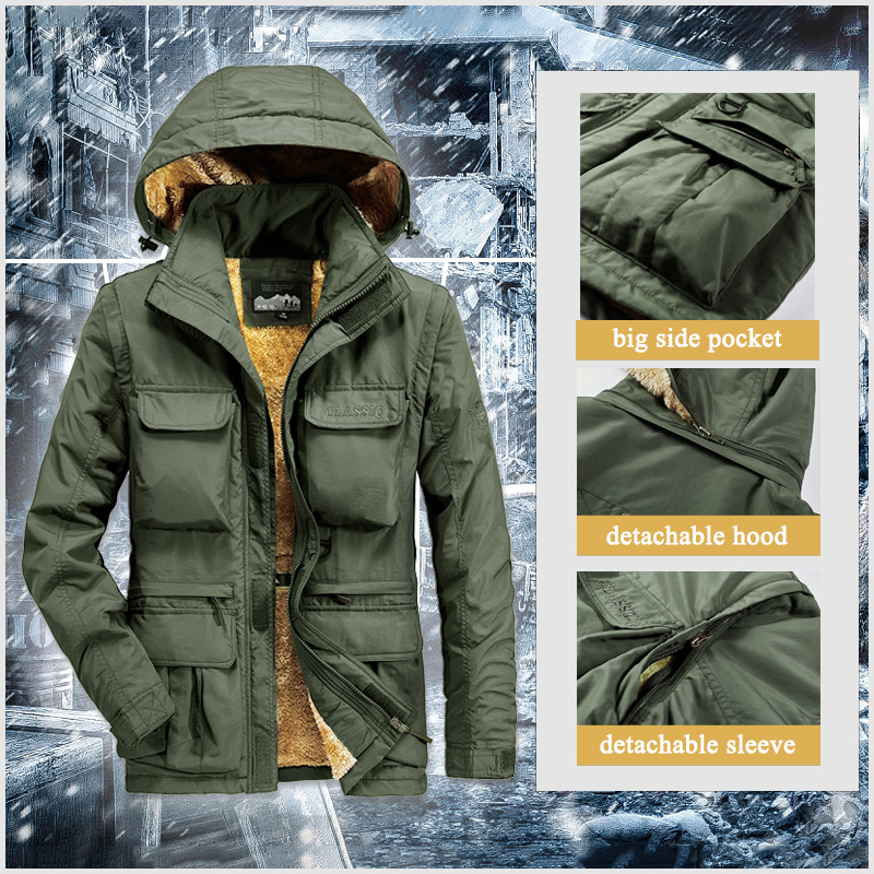 Winter Jacket Men Waterproof Thick Warm Parka Fur Hooded Winter Coat Military Army Windbreaker Fleece Jackets With Multi Pockets
