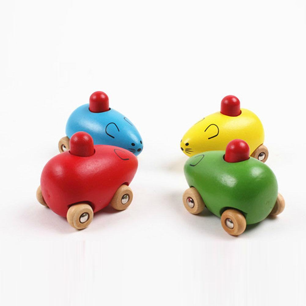 Little Mouse BB Car Infant Wooden Animal Toy BB Sound For Baby  Puzzles Toy