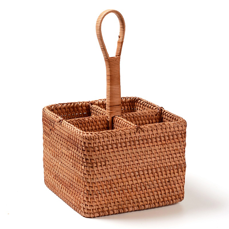 Neatening Storage wicker toy basket picnic rattan basket storage for wine bottle sundries remote control Stationery toys basket