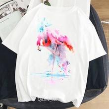 Flamenco de acuarela animal impreso camiseta mujer verano vintage tumblr blanco camiseta femenina camiseta estética ropa de verano