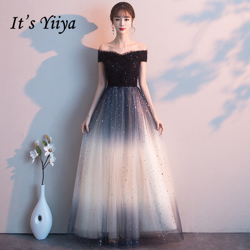 It's Yiiya Evening Dress Black Gradient Shiny Party Dresses Boat Neck Off The Shoulder Formal Gowns Elegant Robe De Soiree K176