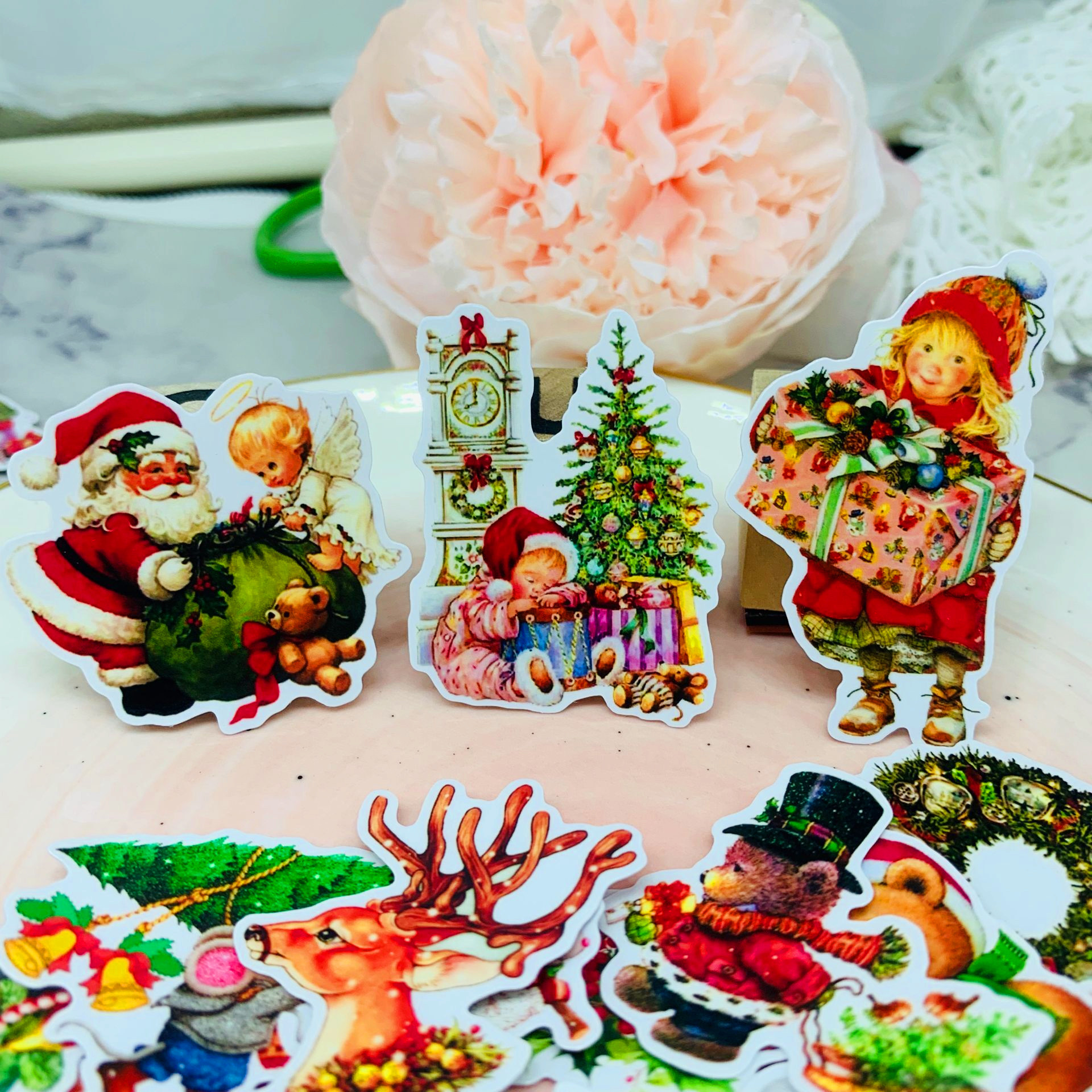 35Pcs/Pack Vintage Santa Clause Christmas Tree Sticker DIY Craft Scrapbooking Album Junk Journal Planner Decorative Stickers