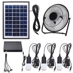 Panel na energię słoneczną ładowanie DC lampa ledowa usb zestaw wentylatora do domu na zewnątrz Camping w Wentylatory od AGD na