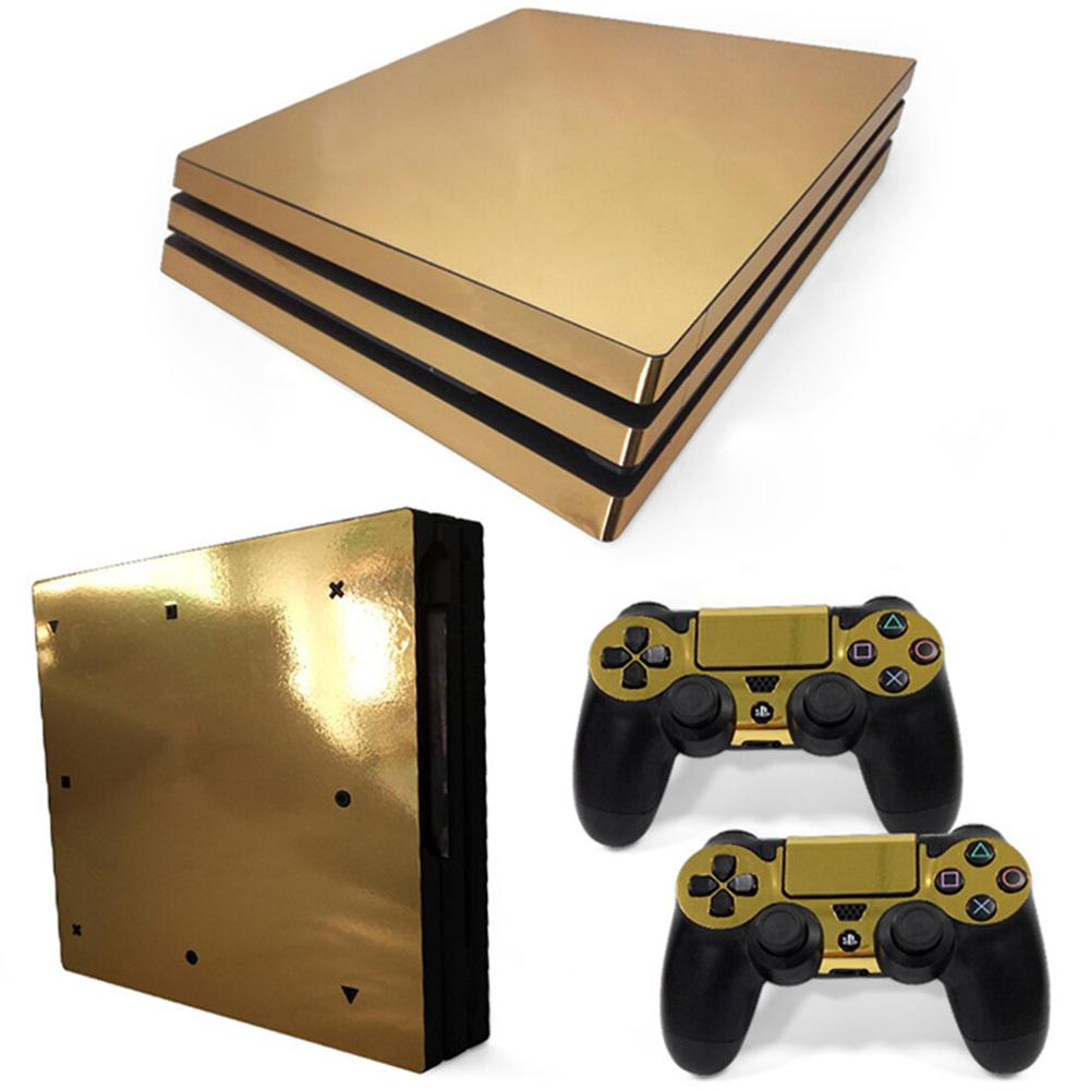 Metal Brushed Gold PS4 Pro Sticker Play Station 4 Skin Sticker Decals For PlayStation 4 PS4 Pro Console & Controller Skins Vinyl