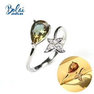 Женское кольцо с зултанитом Bolai, серебряное кольцо с драгоценным камнем 6*9 мм, для повседневной носки, с изменением цвета, для девочек