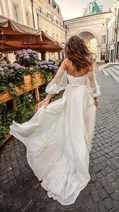Image 2 - Lorie Váy Cưới Công Chúa Người Yêu Appliqued Tay Phồng Cô Dâu Đầm Chữ A Hở Lưng Boho Áo Cưới