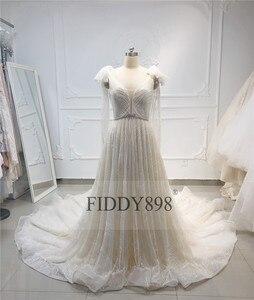 Image 3 - Lüks gelinlik 2020 V boyun şal boncuklu dantel gelinlik uzun tren şampanya gelin kıyafeti Robe de Mariee casamento