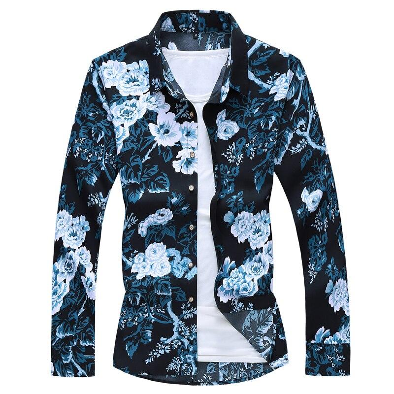 2020 Autumn Spring Clothes Shirt Men Long Sleeves Big Size M-5XL 6XL 7XL Print Hawaiian Beach Casual Floral Shirt For Man