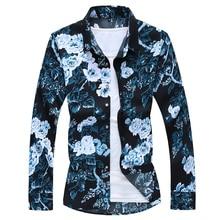 2021 Autumn Spring Clothes Shirt Men Long Sleeves Big Size M-5XL 6XL 7XL Print Hawaiian Beach Casual Floral Shirt For Man
