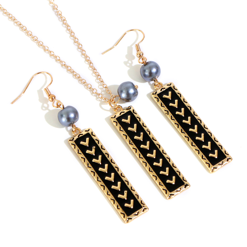 Say Hello Hawaii Polynesia Style Pearl Rectangle Necklace Earrings Sets for Women Female New Design Jewelry Sets Alakai K6100