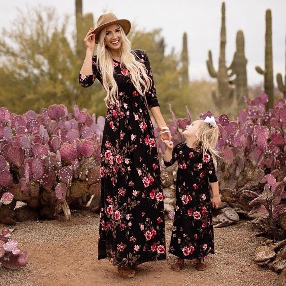 Dress Long-Skirt Daughter New Mom And Autumn Flower-Print Motmer