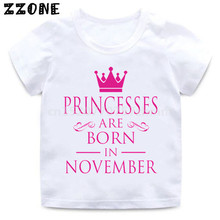 Baby Girls Birthday Princess Are Born In JAL-DEC Print T shirt Kids Funny Clothes Children Short Sleeve T-shirt,HKP5330 2018 new summer casual men t shirt may only the best are born in may men s t shirt grey birthday gift 00512