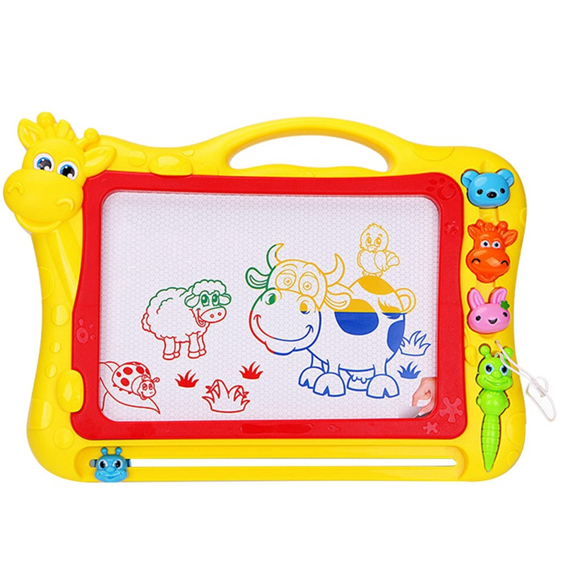 HOT-Magnetic Drawing Board,Drawing Area Colorful Magna Drawing Doodle Board,With 3x Stamps, 1x Magnetic Pen,Yellow