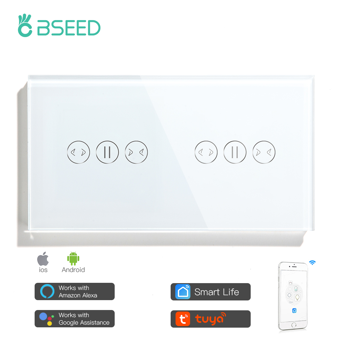 BSEED Wifi Double Touch Curtain Switches Intelligent Wall Shutter Switches Glass Panel Smart Life Google Alexa App Control