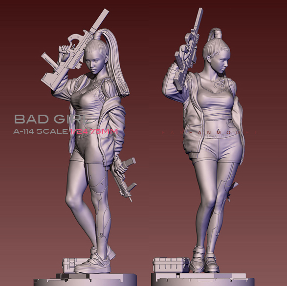 75mm 1/24  Resin Figure Kits Bad Girl City Swept Resin Soldier Self-assembled A-114