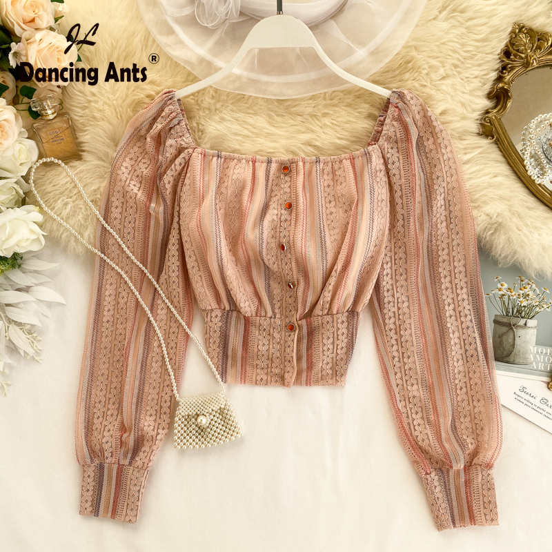 Woman Shirt Chiffon Square Collar Long Sleeve Elastic Waist Slim Top 2020 Spring New Female Elegant Single Breasted Short Blouse