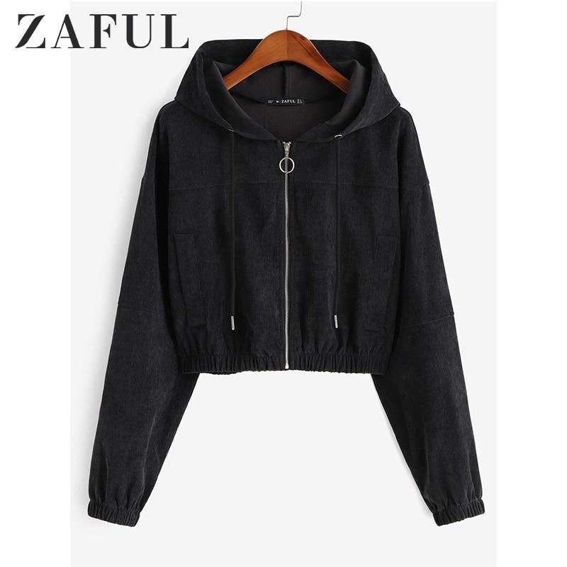 ZAFUL Winter Solid Women Causal Jackets Hooded Long Sleeves Female Corduroy Pullovers Zip Up Drawstring Pocket Femme Crop Jacket