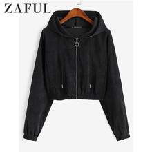 ZAFUL Winter Solid Women Causal Jackets Hooded Long Sleeves Female Corduroy Pull