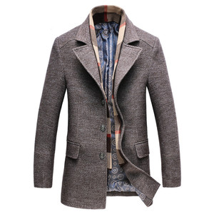 Image 1 - Dropshipping new spring autumn Mens Casual Wool Trench Coat Fashion Business Long Thicken Slim Overcoat Jacket Male Peacoat