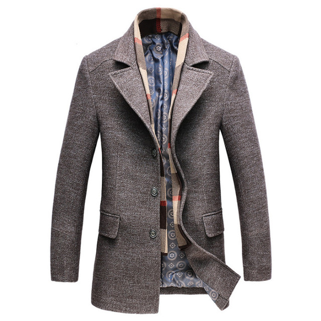 Dropshipping new spring autumn Mens Casual Wool Trench Coat Fashion Business Long Thicken Slim Overcoat Jacket Male Peacoat