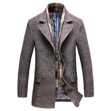 Dropshipping yeni bahar sonbahar erkek rahat yün trençkot moda iş uzun kalınlaşmak ince palto ceket erkek Peacoat