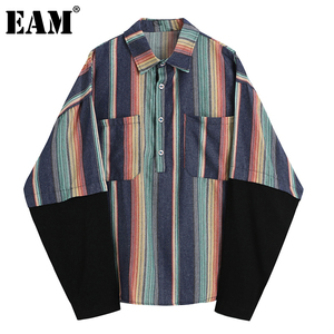 [EAM] Women Blue Striped Split Big Size Blouse New Lapel Long Sleeve Loose Fit Shirt Fashion Tide Spring Autumn 2020 1DB409
