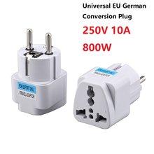 Universal da ue alemão conversão plug adaptador europeu alemanha austrália chinês 250v 10a 800w tomada de energia viagem conversão plug