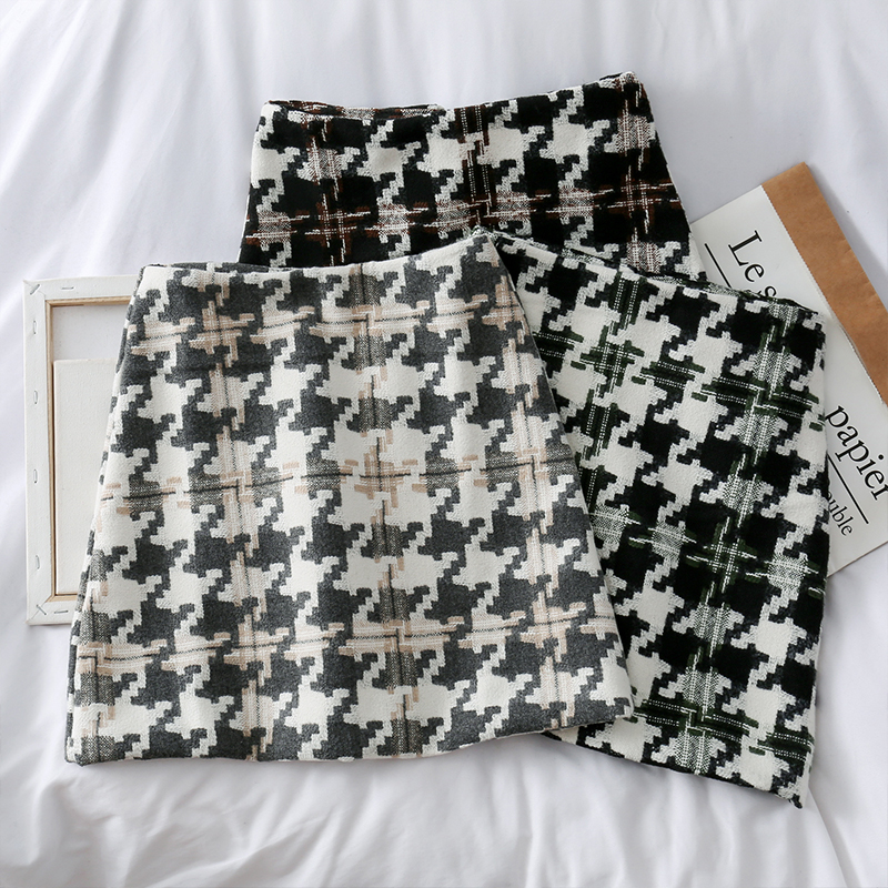 Large Houndstooth Pattern 2019 New Retro High Waist A-line Short Skirt For Women Autumn And Winter