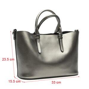 Image 3 - Silver Genuine Leather Shoulder Bags for Women 2020 Fashion High Quality Luxury Handbags Big Messenger Bag Tote Ladies Hand Bags