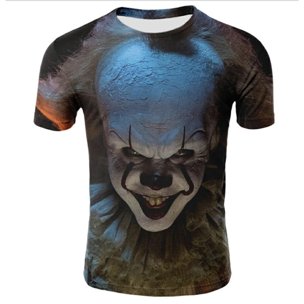Funny Printed Men T-shirt Clown Print Casual T-shirt Summer Male T-shirt  Hip Hop Tops Tee Mens Short Sleeve Fashion Clothing