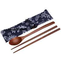 2016 baguettes en bois utiles et cuillère couverts ensembles voyage vaisselle costume environnement bois vaisselle avec tissu Pack cadeau